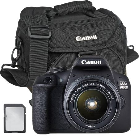 Canon 2000D + EF-S 18-55mm + Bag + Card – Cameraland Sandton