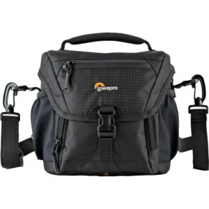 Store, transport, and protect your mirrorless/compact DSLR with 17-85mm attached lens, a flash and related accessories in the black Nova 140 AW II Camera Bag from Lowepro